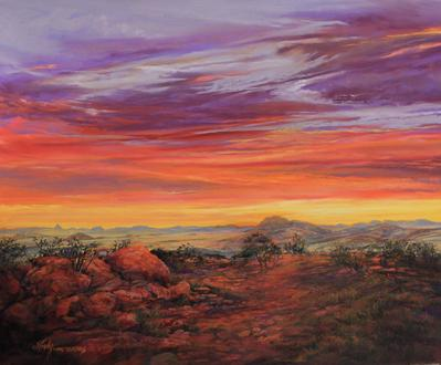 Daybreak Across the Top of Texas, a pastel skyscape by Lindy C Severns acclaimed by Michael Duty