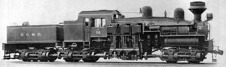 150-ton Class C Shay locomotive built for the Greenbrier, Cheat & Elk Railway, ca. 1922.