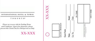 Numbered ticket tags with hole, perforations and numbering valet parking shown.
