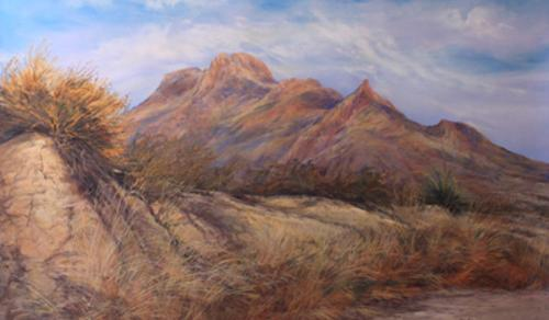 Desert Waking large pastel landscape by Big Bend Artist Lindy Cook Severns. Bee Mountain, Terlingua Texas. 20x30 pastel original for sale. Old Spanish Trail Studio, Fort Davis, TX