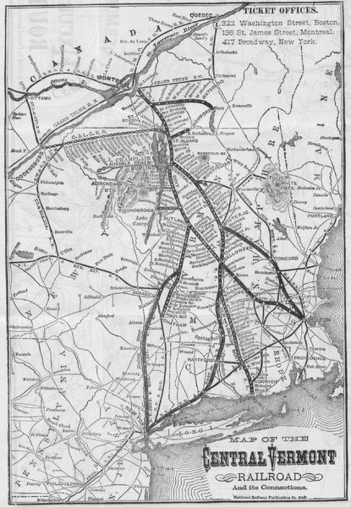 Map of the Central Vermont, circa 1879.