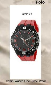 Watch Information Brand, Seller, or Collection Name U.S. Polo Assn. Model number US9173 Part Number US9173 Model Year 2014 Item Shape Round Dial window material type Glass Display Type Analog-Digital Clasp Buckle Case material Metal Case diameter 5.2 centimeters Case Thickness 12 millimeters Band Material Silicone Band length Mens-Standard Band width 30 millimeters Band Color Red Dial color Black Bezel material Metal Bezel function Stationary Calendar Day, date, and month Movement Quartz