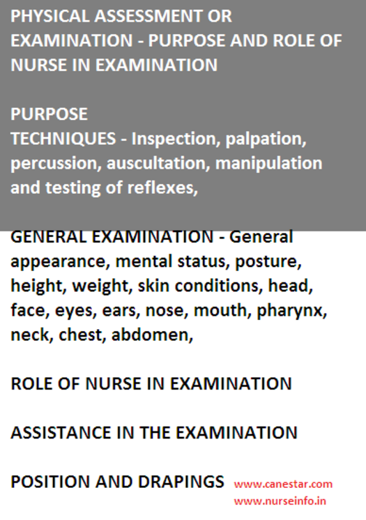 physical assessment or examination - nurse role