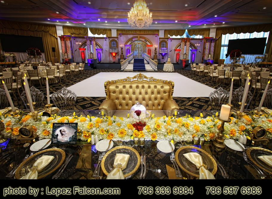 Beauty and the beast quinceanera centerpieces Stage quince decorations la bella y la bestia quince phorography video dress miami Lopez Falcon