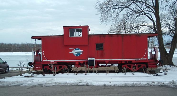 A former Missouri Pacific extended-vision caboose on static display in California, Missouri. Photo by John Cornett.