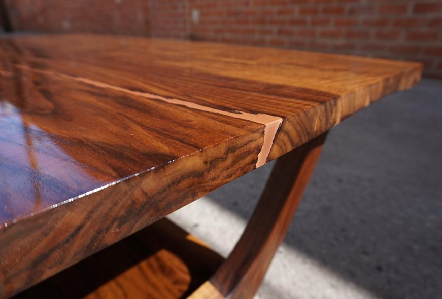 Live edge wood table, polished and stain.