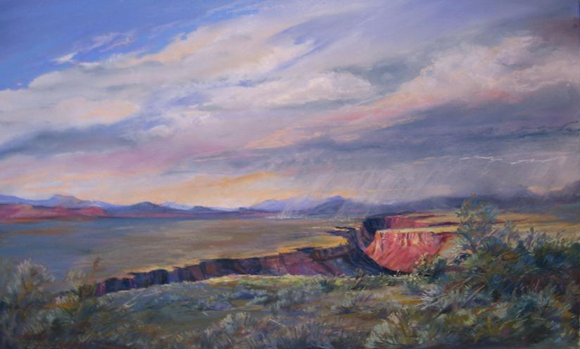 The Colors of Water, plein air pastel of the Rio Grande Gorge near Taos, NM by Lindy C Severns