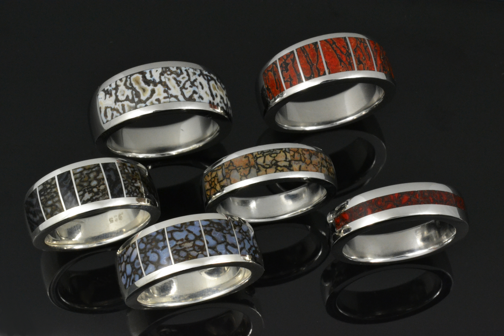 meteorite titanium hawaiian inlay gibeon carbide tungsten koa and wood with bone dinosaur wedding mwb at mm rings