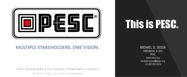 What is PESC? This is PESC - The Postsecondary Electronic Standards Council | Leading the establishment & adoption of trusted, free & open data standards across the education domain