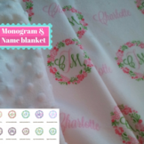 Mongram Shabby Chic Wreath Blanket