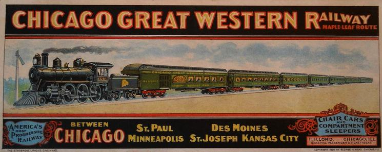 A 1906 ink blotter advertising promoting the railroad's passenger service.