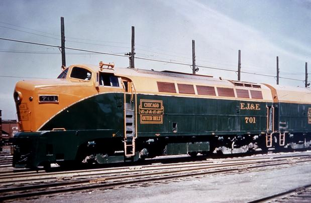 The Elgin, Joliet & Eastern's Baldwin DR-4-4-1500 Sharknose diesels Nos. 701A and 701B.