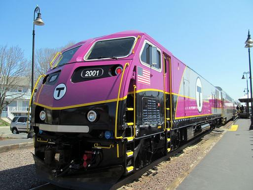 MBTA locomotive No. 2001, a brand new MPI HSP46, arrives at Reading on its first revenue round trip on April 16, 2014.