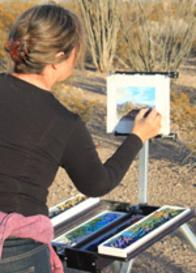 Artist Lindy C Severns painting on location with a Soltek plein air easel