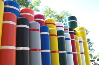 Bollard Covers available in a variety of colors.