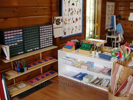 layout of the primary Montessori language shelves - Montessori Print Shop