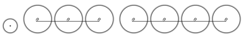 Diagram of the 2-6-8-0 Wheel Arrangement: Two leading wheels, six coupled driving wheels, and eight coupled driving wheels. Front of locomotive on left.