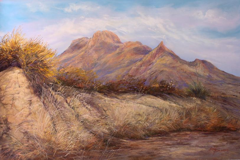 Desert Waking, large pastel landscape painting by Lindy Cook Severns at Midland Framing