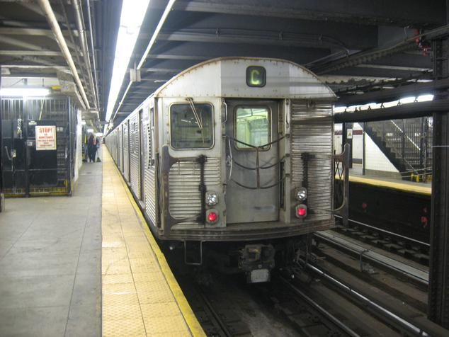 An R32 train on the C Train at 168th Street.