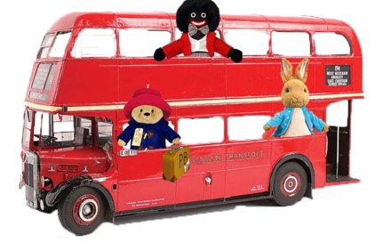 London Bus with Golly Dolly, Peter Rabbit and Paddington Bear