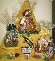 Custom gourmet baskets filled with a variety of sweet and savory items.