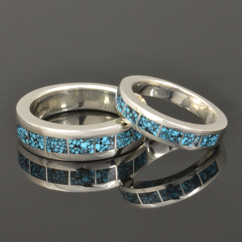Dinosaur Bone and Turquoise Wedding Rings Hileman Silver Jewelry