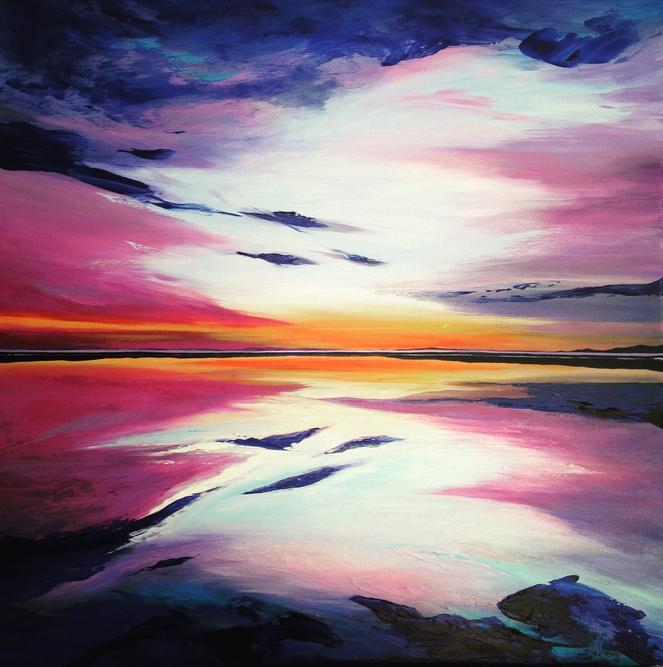 Summertime Sunset. 70x70cm. Original contemporary acrylic abstract re-imagined seascape painting by Irish artist Orfhlaith Egan. Private Collection Rosslare, Ireland. Orlainberlin Charlottenburg abstract landscape painter.