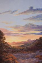Morning Has Broken, large oil landscape by Lindy C Severns, Fort Davis TX