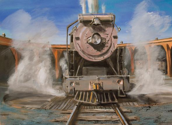 steam locomotive railroad roundhouse painting