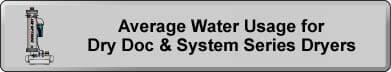 Average Water Usage for Dry Doc & System Series Dryers