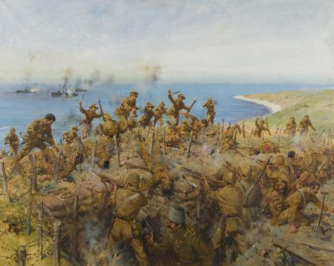 Gurkhas in Gallipoli - Sari Bair Ridge by Terence Cuneo
