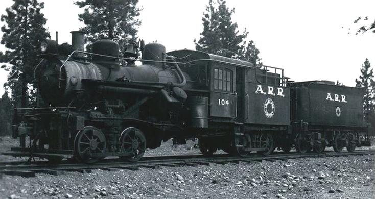 Almanor Railroad No. 104 at Chester, California on May 20, 1947. C.W. Witbeck photo.