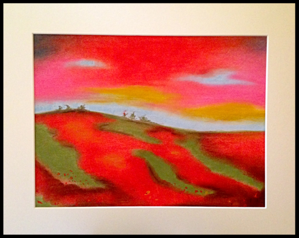 Poppy Field. Irish Landscape Chalk Pastel on paper. Orfhlaith Egan Irish Artist based in Berlin. Affordable original art.