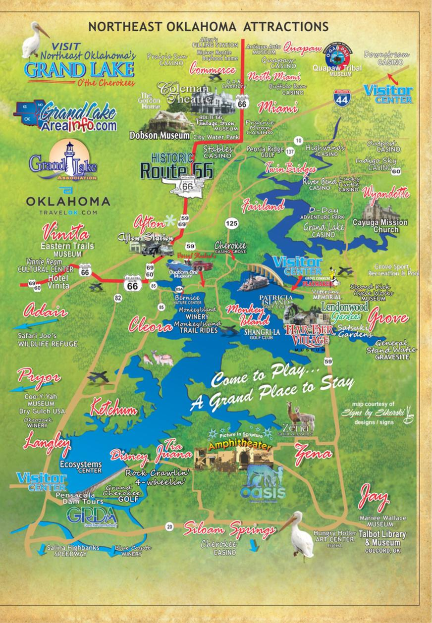 Grand Lake OK attractions map northeast OK