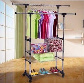 3 Tier Portable Double Rolling Rail Adjustable Clothes Rack Hanger