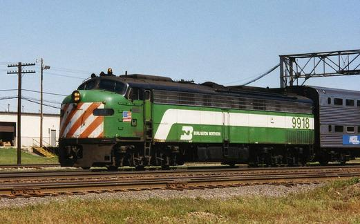 BN 9918, an EMD E9, working on Metra's line to Aurora, September 1992.