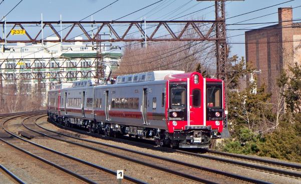 Metro-North M8 train at Port Chester, NY along the New Haven Line.