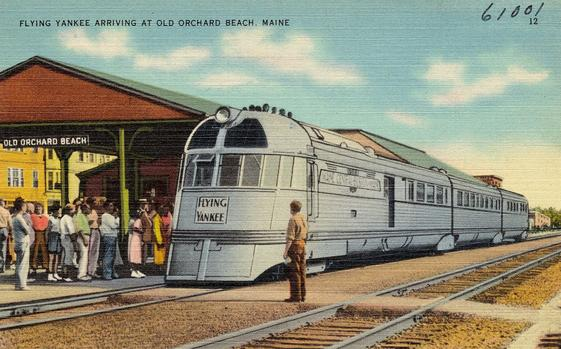 The Flying Yankee arrives at Old Orchard Beach, Maine, circa 1937.
