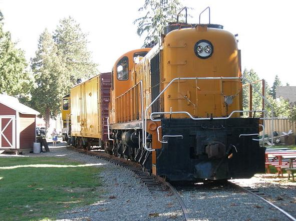 Kennecott Copper Corporation ALCO RSD-5 locomotive No. 201 on display at Snoqualmie Depot, Snoqualmie, Washington.