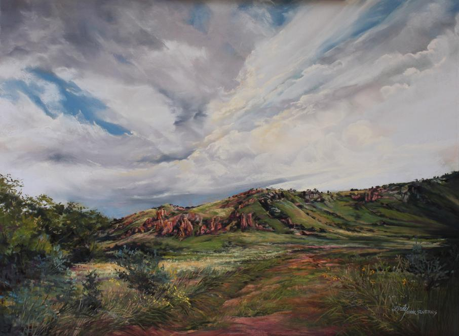 "Lindy C Severns landscape painting for sale ""Summer Rains"" a Davis Mts ranch in West Texas"