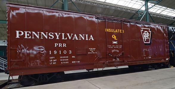 Pennsylvania Railroad Boxcar No. 19103 at the Railroad Museum of Pennsylvania.