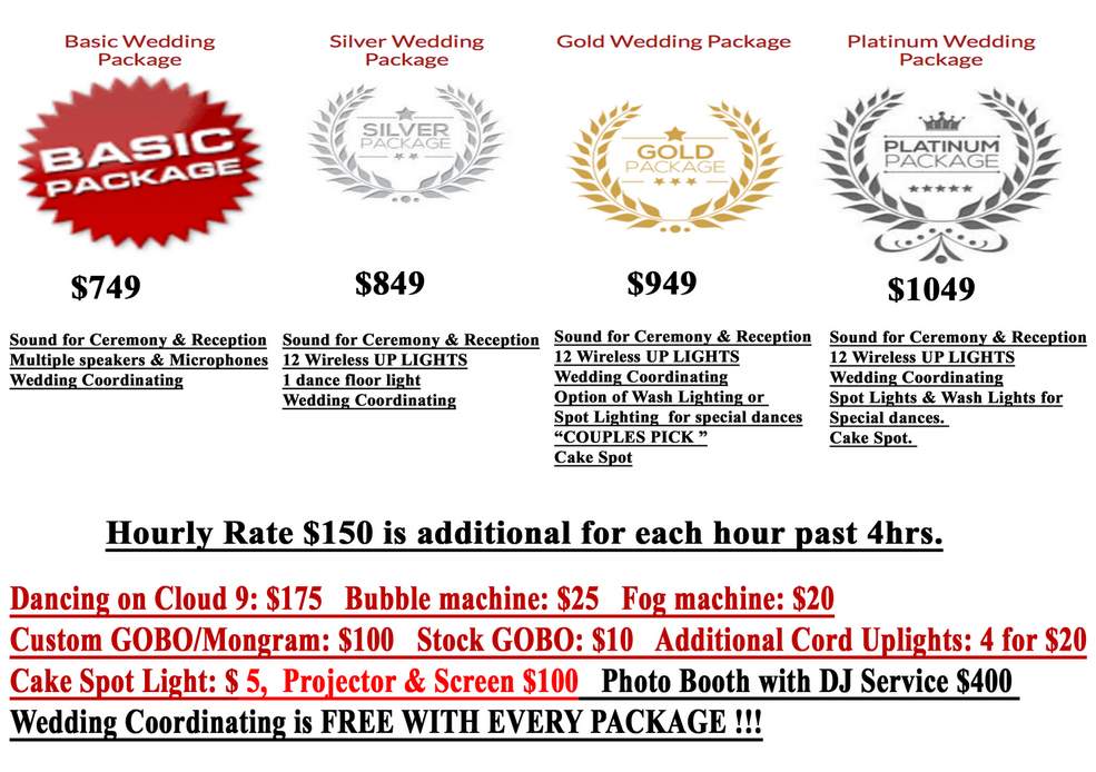 Wedding PRICES FOR DJ MINI C