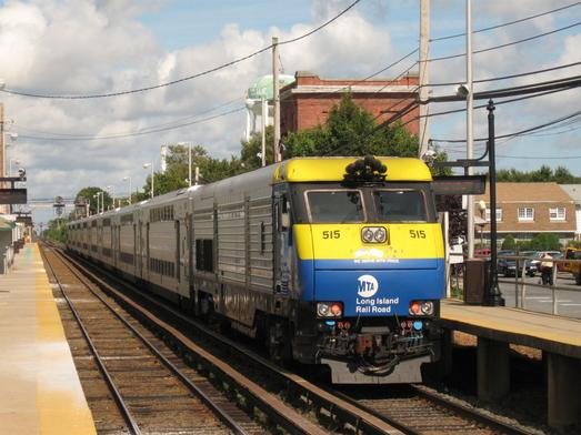 Long Island Rail Road EMD DM30AC #515 pushing Train 8054, a Ronkonkoma Branch train rerouted via the Babylon and Central Branches due to construction at Queens Interlocking.