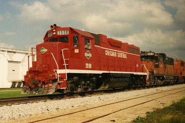 CC 2008 leads a westbound freight train through northern Illinois in 1993. Photo by Sean Lamb.