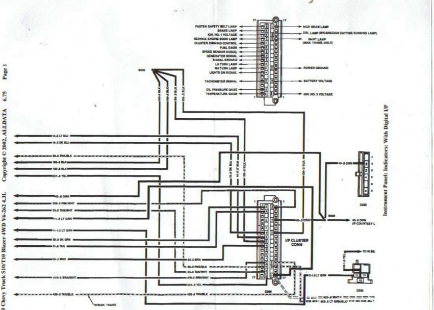 89 94 S 10 Digital Cluster Schematic Pinouts