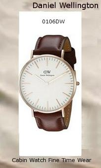 Product Specifications Watch Information Brand, Seller, or Collection Name Daniel Wellington Model number 0106DW Part Number DW00100006 Model Year 2014 Item Shape Round Dial window material type Mineral Display Type Analog Clasp Buckle Metal stamp Stainless steel Case material Stainless steel Case diameter 40 millimeters Case Thickness 6 millimeters Band Material Genuine-leather Band length Men's Standard Band width 20 millimeters Band Color Brown Dial color White Bezel material Stainless steel Bezel function Stationary Calendar Date Special features Water resistant 3ATM Item weight 2.40 Ounces Movement Quartz Water resistant depth 99 Feet,daniel wellington