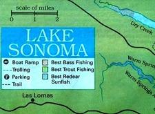 lake sonoma hunting map where to find pigs or boars or hogs