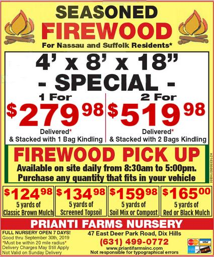 Firewood Seasoned Prianti Plant Herbs Vegetables Flower Savings Special Sale Shrubs Trees Nursery Long Island