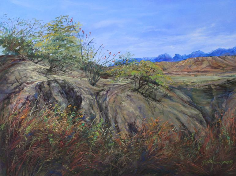 Trail to the Indian Spring, original pastel landscape by Big Bend Artist Lindy C Severns, Old Spanish Trail Studio, Fort Davis TX