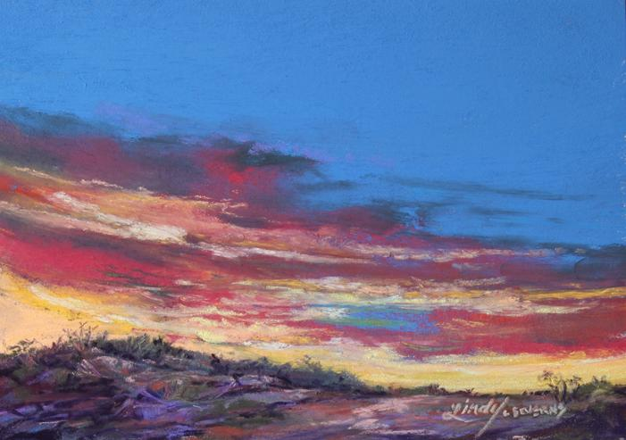 Sky Spun Color, miniature pastel landscape painting by Texas artist Lindy C Severns, a high desert sunset